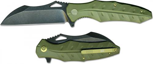 We Knife Company 701A EDC Liner Lock Flipper Folding Knife Black Stonewash Green G10