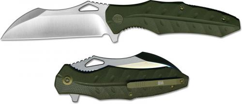 We Knife Company 701B EDC Liner Lock Flipper Folding Knife Satin Blade Green G10 Handle