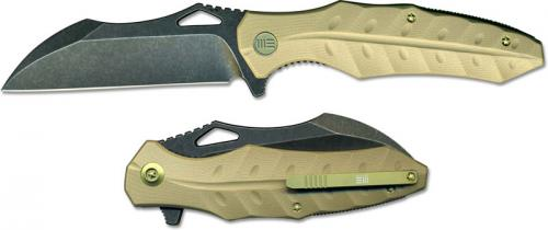 We Knife Company 701C EDC Liner Lock Flipper Folding Knife Black Stonewash Tan G10