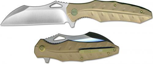 We Knife Company 701D EDC Liner Lock Flipper Folding Knife Satin Blade Tan G10 Handle