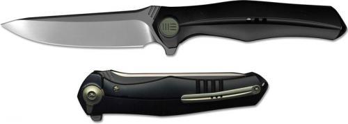 We Knife Company 702B EDC Frame Lock Flipper Folding Knife Integral Black Titanium Handle