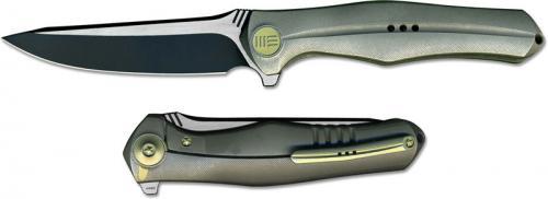 We Knife Company 702C EDC Black Stonewash and Satin Blade Flipper Folder Integral Gray Titanium Handle