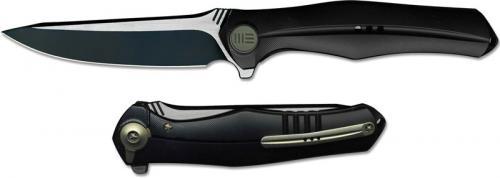 We Knife Company 702D EDC Black Stonewash and Satin Blade Flipper Folder Integral Black Titanium Handle