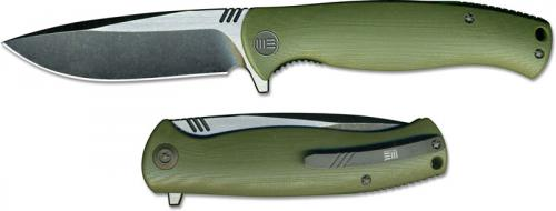 We Knife Company 703A EDC Liner Lock Flipper Folding Knife 2 Tone Blade Green G10 Handle