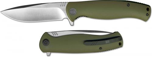 We Knife Company 703B EDC Liner Lock Flipper Folding Knife Satin Blade Green G10 Handle