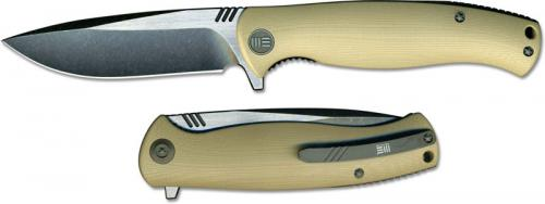 We Knife Company 703C EDC Liner Lock Flipper Folding Knife 2 Tone Blade Tan G10 Handle