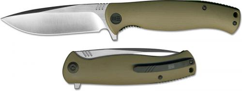 We Knife Company 703D EDC Liner Lock Flipper Folding Knife Satin Blade Tan G10 Handle