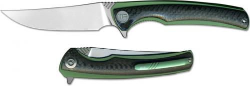 We Knife Company 704CFC EDC Liner Lock Flipper Folding Knife Green Ti and Carbon Fiber