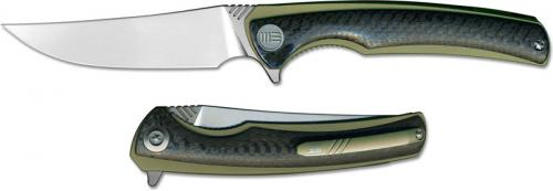 We Knife Company 704CFD EDC Liner Lock Flipper Folding Knife Gold Ti and Carbon Fiber