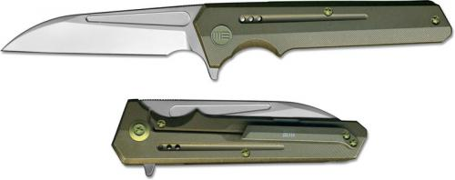 We Knife Company 705D EDC Frame Lock Flipper Folding Knife Satin Wharncliffe Bronze Ti Handle