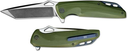 We Knife Company 706A EDC Liner Lock Flipper Folding Knife 2 Tone Blade Green G10
