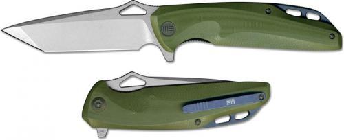 We Knife Company 706B EDC Liner Lock Flipper Folding Knife Stonewash Blade Green G10