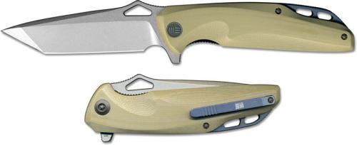 We Knife Company 706D EDC Liner Lock Flipper Folding Knife Stonewash Blade Tan G10