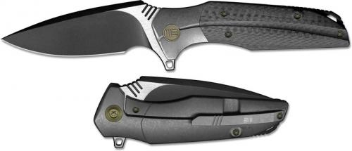 We Knife Company 707A Nitida Frame Lock Flipper Knife Black Stonewash Blade Gray Ti Handle