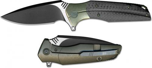 We Knife Company 707C Nitida Frame Lock Flipper Knife Black Stonewash Blade Bronze Ti Handle