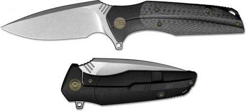 We Knife Company 707F Nitida Frame Lock Flipper Knife Stonewash Blade Black Ti Handle
