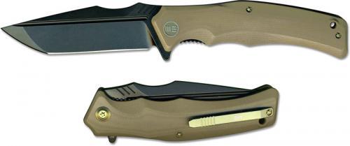 We Knife Company 709C Thraex EDC Liner Lock Flipper Folding Knife Black Stonewash Tan G10
