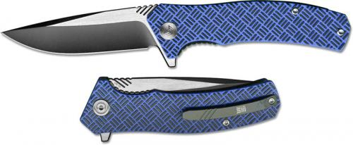We Knife Company Blitz 711A EDC Liner Lock Flipper Folding Knife 2 Tone Blade Blue G10 Handle