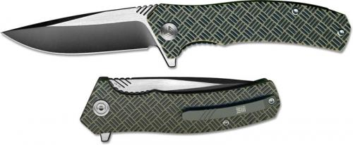 We Knife Company Blitz 711D EDC Liner Lock Flipper Folding Knife 2 Tone Blade Tan G10 Handle