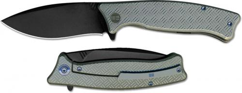 We Knife Company 712C Balaenoptera Frame Lock Flipper Folder Black Stonewash Blade Gray Ti Handle