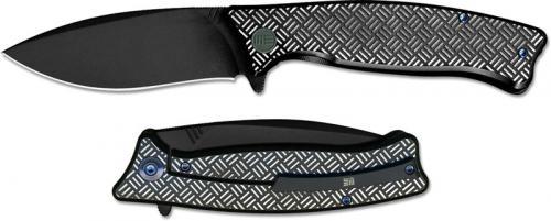 We Knife Company 712E Balaenoptera Frame Lock Flipper Folder Black Stonewash with Black and White Ti