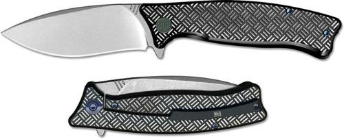 We Knife Company 712F Balaenoptera Frame Lock Flipper Folder Stonewash with Black and White Ti