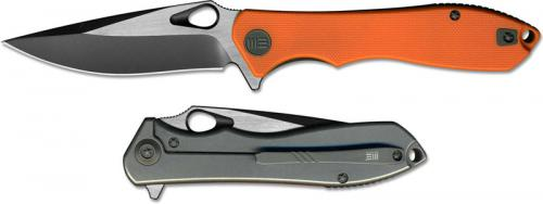WE Knife 715A Ignition EDC Black Stonewash Drop Point Frame Lock Flipper Orange G10 Ti