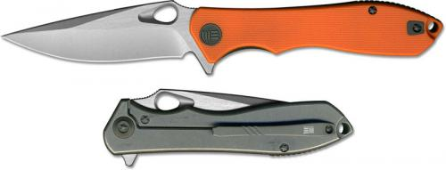 WE Knife 715B Ignition EDC Stonewash Drop Point Frame Lock Flipper Orange G10 Ti