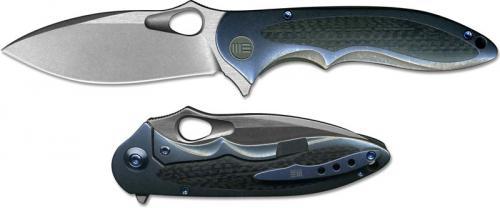 WE Knife 716B Zephyr EDC Stonewash Drop Point Frame Lock Flipper Blue Ti and Carbon Fiber