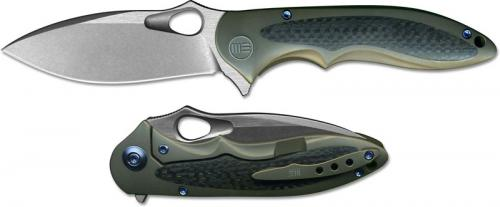 WE Knife 716D Zephyr EDC Stonewash Drop Point Frame Lock Flipper Brown Ti and Carbon Fiber