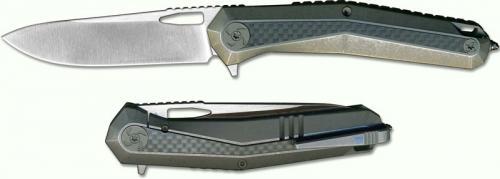 WE Knife 808B Caliber Ivan Dmitrievich Drop Point Flipper Folder Gray Ti and Carbon Fiber Frame Lock