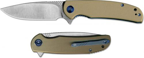 WE Knife 809B Practic EDC Bohler M390 Satin Drop Point Flipper Folder Tan G10 Liner Lock
