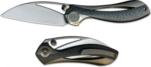 We Knife Company 821B Pleroma Elijah Isham EDC Wharncliffe Folder Champagne Titanium and Carbon Fiber Liner Lock