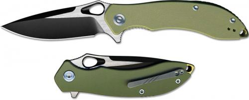 CIVIVI Aquila Knife C805A - Black Stonewash and Satin VG-10 Drop Point - Green G10 - Liner Lock Flipper Folder