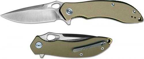 WE Knife C805D CIVIVI Aquila Satin Drop Point Flipper Folder Tan G10 Liner Lock