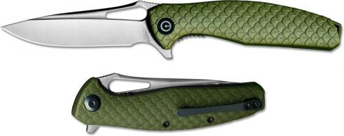 WE Knife C902A CIVIVI Wyvern Satin Drop Point Flipper Folder Green FRN Liner Lock