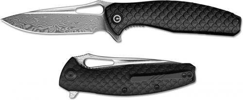 CIVIVI Wyvern Knife C902DS - Damascus Drop Point - Black FRN - Liner Lock Flipper Folder