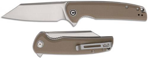 CIVIVI Brigand Knife C909B - Satin D2 Reverse Tanto - Tan G10 - Liner Lock Flipper Folder