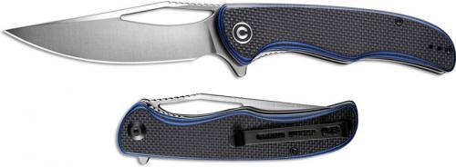 CIVIVI Shredder Knife C912A - Satin D2 Clip Point - Blue / Black G10 - Liner Lock Flipper Folder