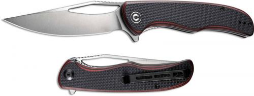 CIVIVI Shredder Knife C912B - Satin D2 Clip Point - Red / Black G10 - Liner Lock Flipper Folder
