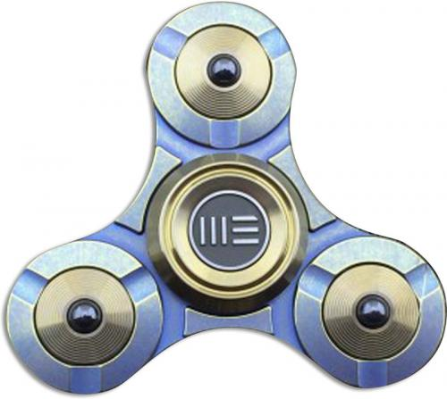 We Knife Company S02B Tri Lobe Fidget Hand Spinner Stress Reliever Yellow Titanium