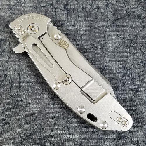 Rick Hinderer XM-24 Knife 4 Inch Wharncliffe Black G10 Stonewash Frame Lock Flipper