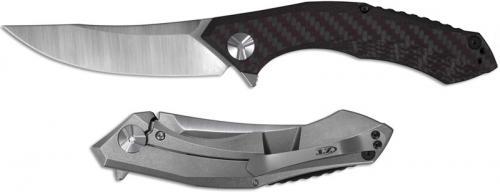 Zero Tolerance 0462 Knife Dmitry Sinkevich Red Gray Carbon Fiber and Titanium Flipper Folder