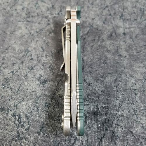 Rick Hinderer XM-18 Knife 3.5 Inch Skinner Dark Green G10 Stonewash Frame Lock Flipper