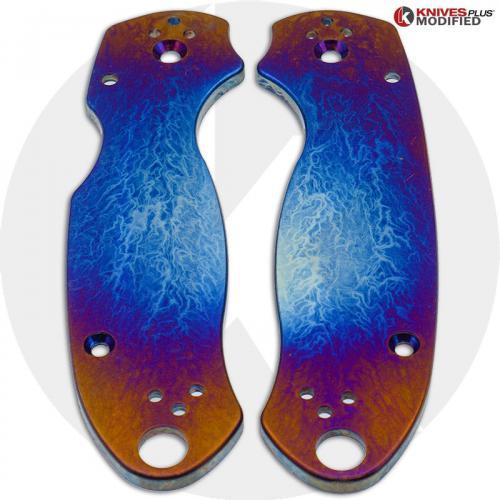 KP Custom Titanium Scales for Spyderco Para 3 Knife - Super Nova Finish