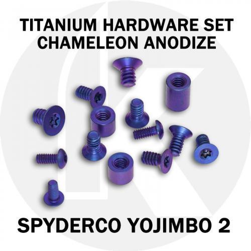 Titanium Hardware Replacement Screw Set for Spyderco Yojimbo 2 Knife - High Voltage Chameleon Anodize