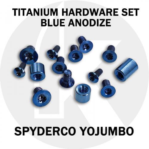 Titanium Hardware Replacement Screw Set for Spyderco YoJUMBO Knife - Blue Anodize