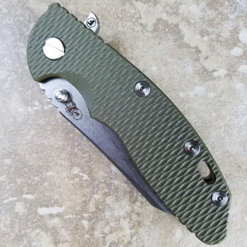 Rick Hinderer XM-18 Fatty Knife 3.5 Inch Stonewash Wharncliffe OD Green G10 Bronze Ano
