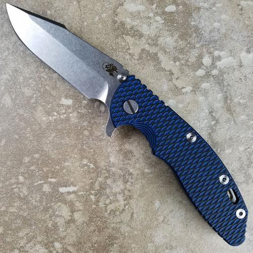 Rick Hinderer XM-18 Knife 3.5 Inch Stonewash Harpoon Spanto Black Blue G10