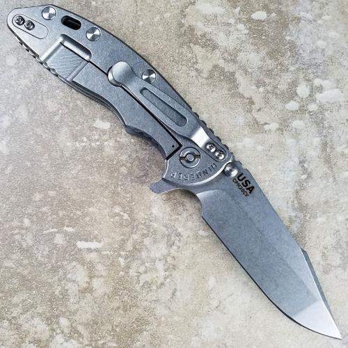Rick Hinderer XM-18 Knife 3.5 Inch Stonewash Harpoon Spanto Gray G10 Frame Lock Flipper